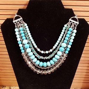 Loft blue beaded cascade necklace GUC